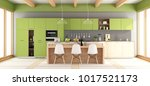 green and gray modern kitchen... | Shutterstock . vector #1017521173
