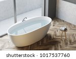 top view of a white bathtub... | Shutterstock . vector #1017537760