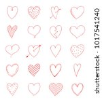 cute heart doodles   collection ... | Shutterstock .eps vector #1017541240