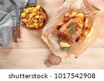 delicious whole roasted chicken ... | Shutterstock . vector #1017542908