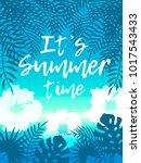 hello summer beach party flyer. ... | Shutterstock .eps vector #1017543433