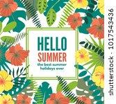 summer hawaiian tropical poster ... | Shutterstock .eps vector #1017543436