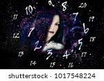 woman  space and world of... | Shutterstock . vector #1017548224