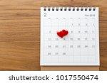 hearts on calendar february 14... | Shutterstock . vector #1017550474