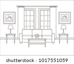 living room interior with... | Shutterstock .eps vector #1017551059
