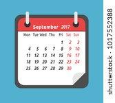 monthly calendar for september... | Shutterstock . vector #1017552388