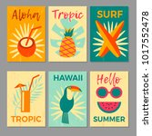 tropical printable set. vector... | Shutterstock .eps vector #1017552478