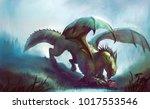 illustration of a dragon hunt....   Shutterstock . vector #1017553546