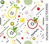 trendy seamless  memphis style... | Shutterstock .eps vector #1017553900