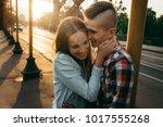emotional portrait. cheerful... | Shutterstock . vector #1017555268