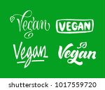 set of vegan lettering. hand... | Shutterstock .eps vector #1017559720