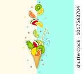 ice cream  fruit  3d  pastel.... | Shutterstock .eps vector #1017563704