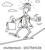 cartoon businessman on a high... | Shutterstock .eps vector #1017564136