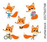 vector set of cartoon funny fox ... | Shutterstock .eps vector #1017565768