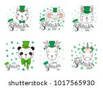 set of hand drawn portraits of... | Shutterstock .eps vector #1017565930