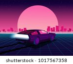 Retro future. 80s style sci-fi background with supercar. Futuristic retro car. Vector retro futuristic synth illustration in 1980s posters style. Suitable for any print design in 80s style | Shutterstock vector #1017567358