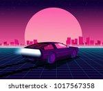 retro future. 80s style sci fi... | Shutterstock .eps vector #1017567358