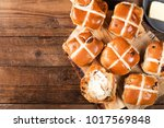 easter breakfast with hot cross ... | Shutterstock . vector #1017569848