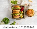 vegan beet chickpea burgers... | Shutterstock . vector #1017573160