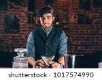 vintage single man smiling at... | Shutterstock . vector #1017574990