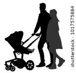 happy family  parents walking... | Shutterstock .eps vector #1017575884