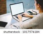 professional web designer using ... | Shutterstock . vector #1017576184