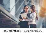 business woman working together. | Shutterstock . vector #1017578830