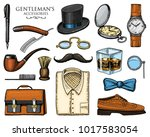 gentleman accessories. hipster... | Shutterstock .eps vector #1017583054