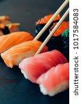 japanese food shushi roll | Shutterstock . vector #1017584083