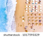 sun chairs and umbrellas bird's ... | Shutterstock . vector #1017593329