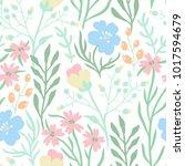 vector floral seamless pattern... | Shutterstock .eps vector #1017594679