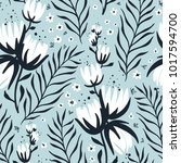 vector floral seamless pattern... | Shutterstock .eps vector #1017594700