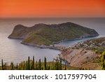 sunset in assos  cephalonia ... | Shutterstock . vector #1017597904