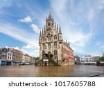 gouda town hall on market... | Shutterstock . vector #1017605788