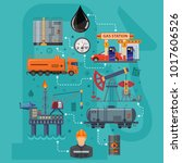 oil industry infographics with... | Shutterstock .eps vector #1017606526