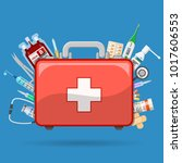 medicine chest or first aid kit ...   Shutterstock .eps vector #1017606553