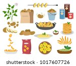 big set icons of potato dishes...   Shutterstock .eps vector #1017607726