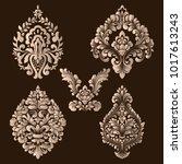 vector set of damask ornamental ... | Shutterstock .eps vector #1017613243