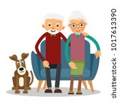 on the sofa sit elderly woman ... | Shutterstock . vector #1017613390