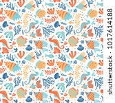 semless sea pattern with fishes ... | Shutterstock .eps vector #1017614188