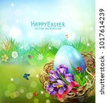 vector illustration. easter... | Shutterstock .eps vector #1017614239