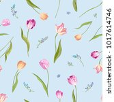 floral seamless pattern with... | Shutterstock .eps vector #1017614746