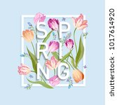 floral spring design for card ... | Shutterstock .eps vector #1017614920