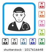 joyful physician doctor vector... | Shutterstock .eps vector #1017616648