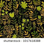 watercolor floral seamless...   Shutterstock . vector #1017618388
