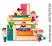 kids reading on the big stack... | Shutterstock .eps vector #1017619126