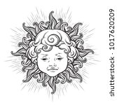 sun with face of cute curly... | Shutterstock .eps vector #1017620209