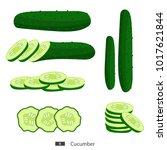 fresh sliced cucumber isolated... | Shutterstock .eps vector #1017621844