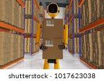 a robot warehouse worker  3d... | Shutterstock . vector #1017623038