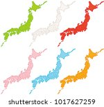 japan map. japanese prefectures.... | Shutterstock .eps vector #1017627259